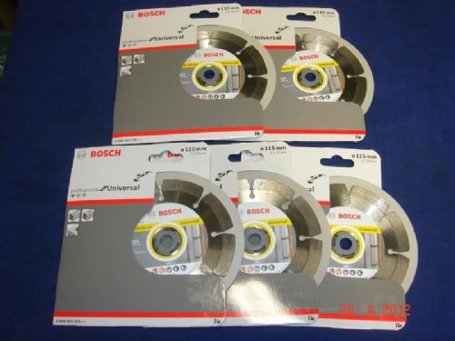 "5 x Bosch 115mm 4 1/2"" Diamond Cutting Brick Concrete Disc Blade DeWalt Makita"